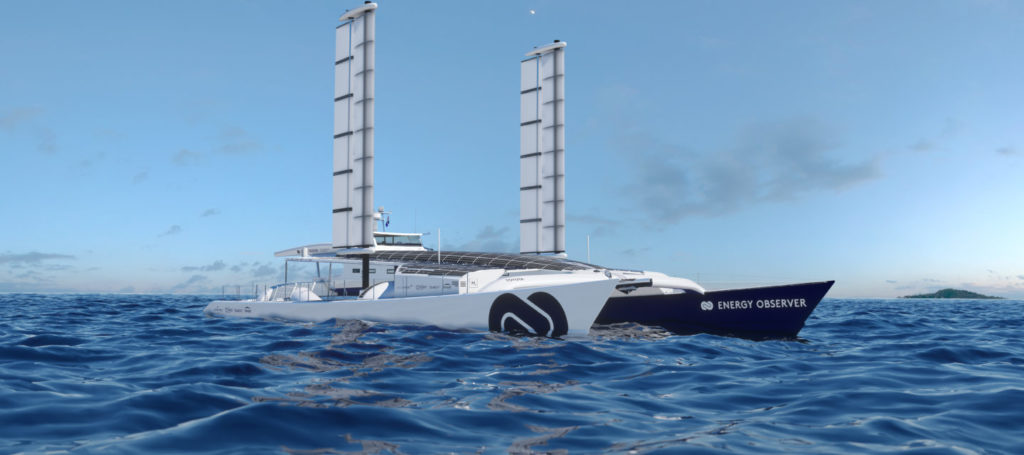Energy Observer, the first Hydrogen-Powered Vessel Fitted with Oceanwings® Wingsails