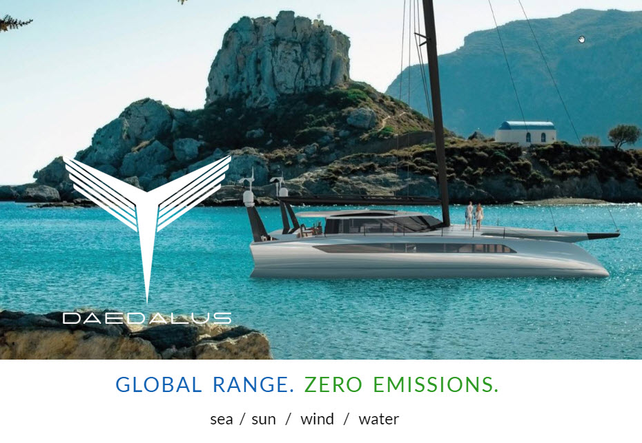 Daedalus Luxury Catamaran with a Hydrogen Fuel Cell Heart