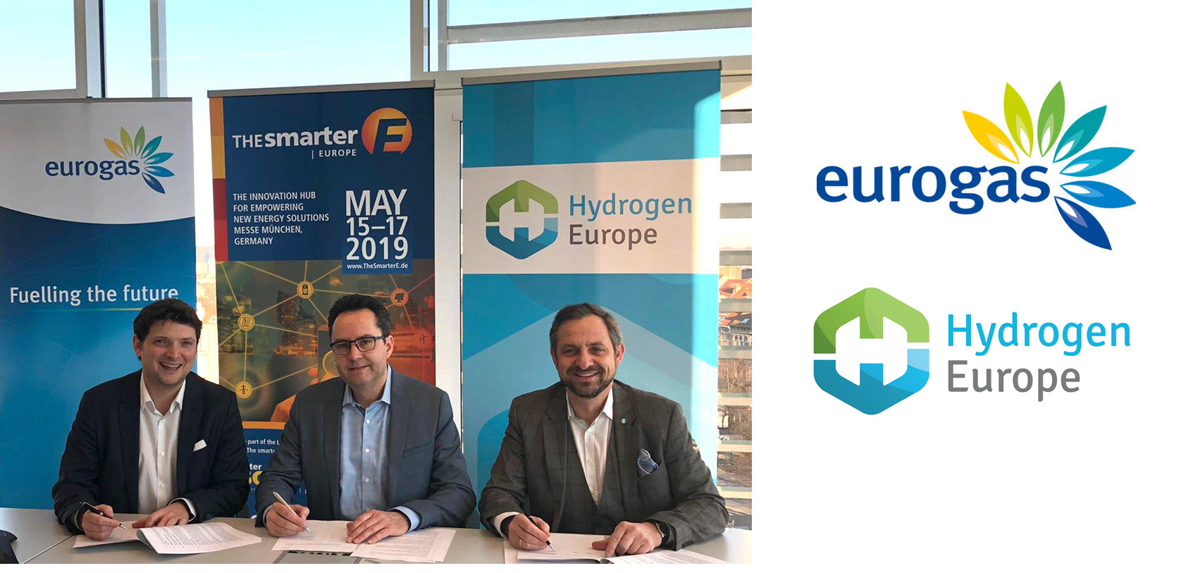 The smarter E Europe Eurogas Hydrogen Europe signing ceremony