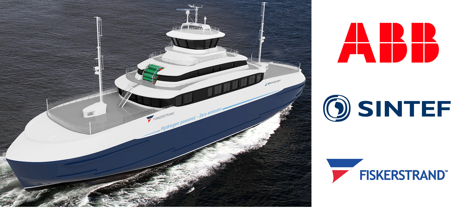 Concept sketch of a hydrogen hybrid ferry. Image credit Fiskerstrand Holding