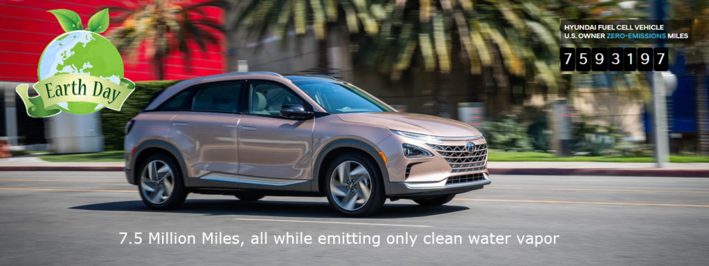 Hyundai U.S.-Market Fuel Cell Mileage Circumnavigates the Planet More Than 300 Times, Emissions-free, for Earth Day