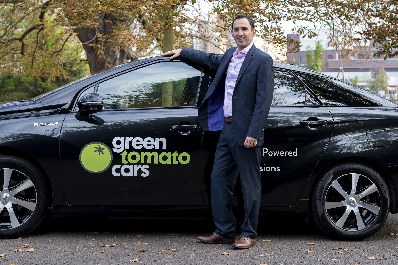 Jonny Goldstone with a hydrogen powered Toyota Mirai