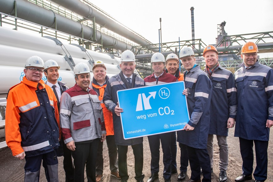World first in Duisburg as NRW economics minister Pinkwart launches tests at thyssenkrupp into blast furnace use of hydrogen