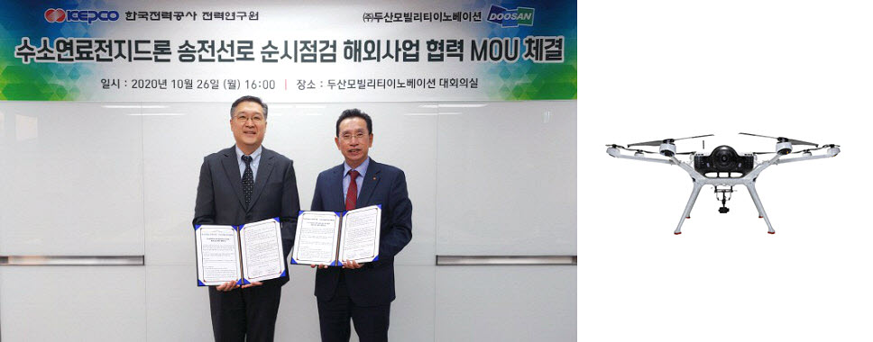 Doosan Mobility and KEPCO Sign MOU for Hydrogen Drone Transmission Line Inspection Project