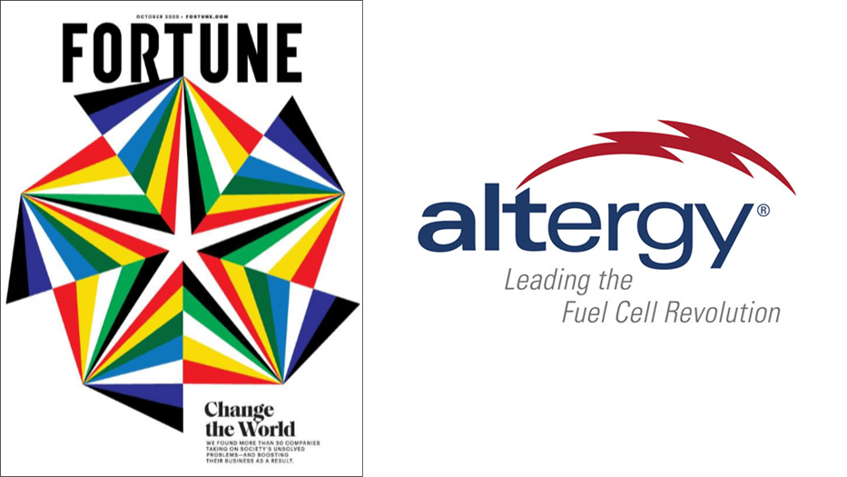 Fuel Cell Company Altergy System is Featured in Fortune Magazines October 2020 Issue Changing the World