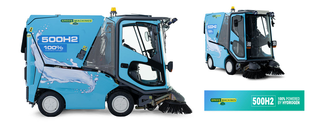 Green Machines is introducing GM 500H2 the first hydrogen fuel cell sweeper