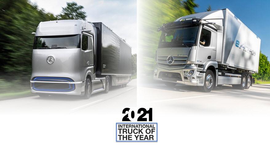 Mercedes Benz eActros and Mercedes Benz GenH2 Truck win 2021 Truck Innovation Award