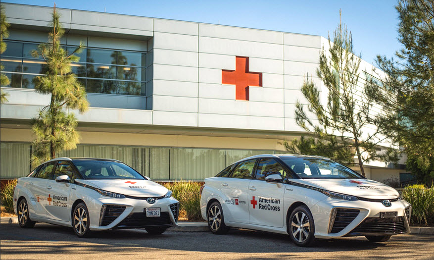 Red Cross Receives Toyota Hydrogen Fuel Cell Electric Cars 1