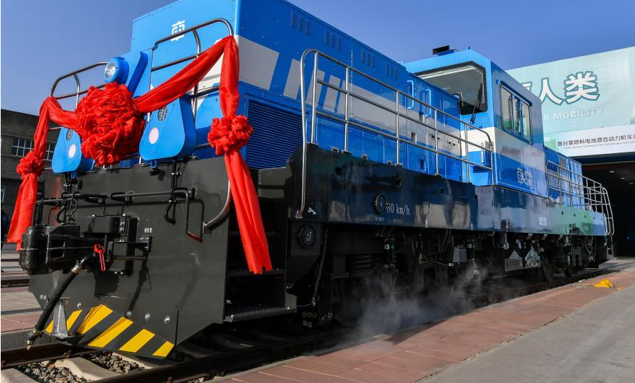 Chinas First Hydrogen Fueled Hybrid Locomotive Rolls off Assembly Line in Shanxi 1