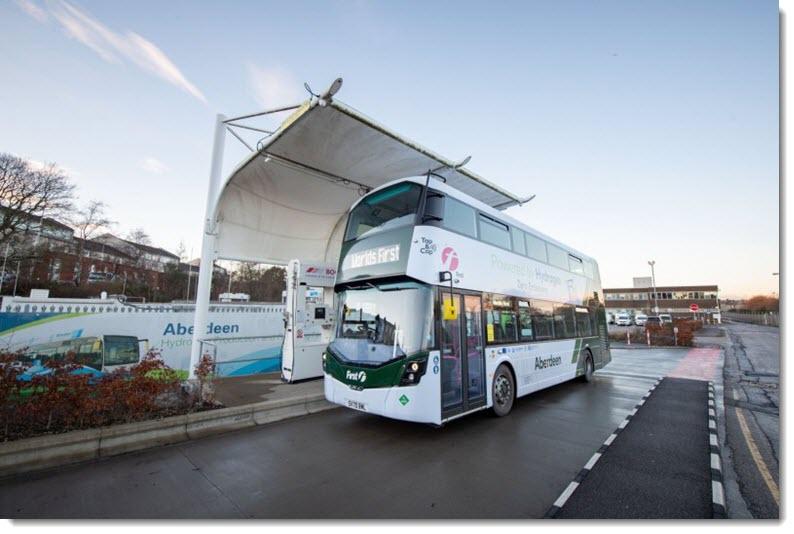 fuel cells works, hydrogen bus, aberdeen, hydrogen