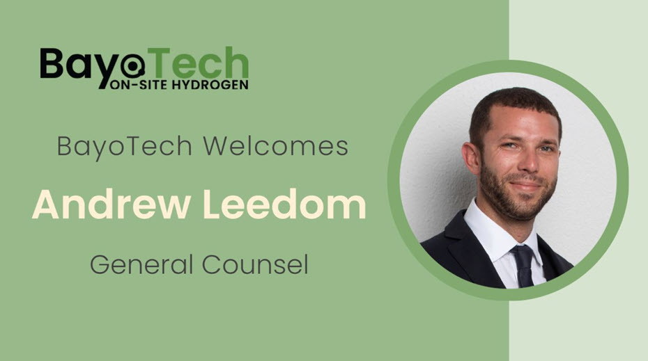 fuelcellsworks, BayoTech Welcomes Andrew Leedom as General Counsel