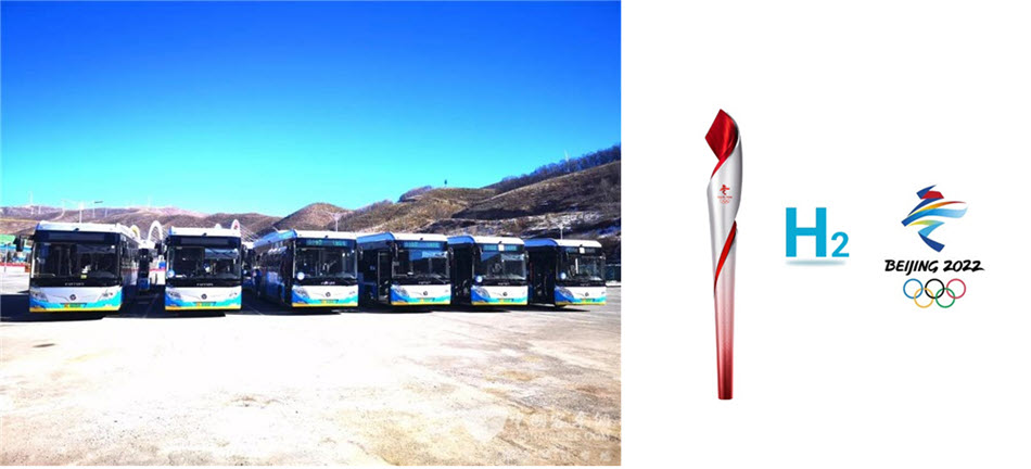 Demonstration and Application of Hydrogen Fuel Cell Buses With More Than 100 Foton Buses to Assist in the Winter Olympics