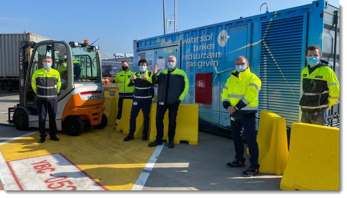A Mobile Hydrogen Station Enables the Demonstration of Two Forklift Trucks at Volvo in Ghent