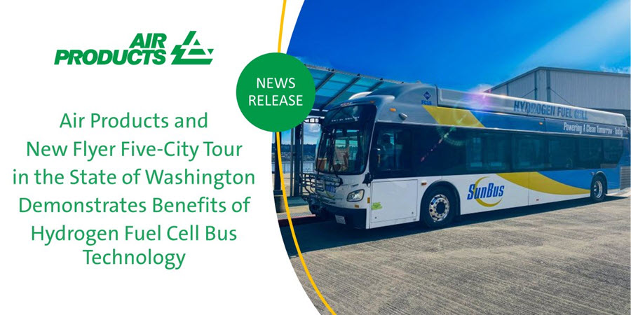 Air Products And New Flyer Five City Tour In The State Of Washington Demonstrates Benefits Of Hydrogen Fuel Cell Bus Technology 1