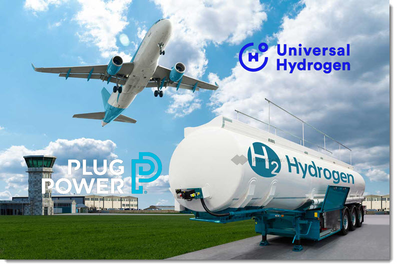 Fuel cells works, hydrogen, Plug Power and Universal Hydrogen Expand Partnership to Include Investment and Global Green Hydrogen Supply for Aviation
