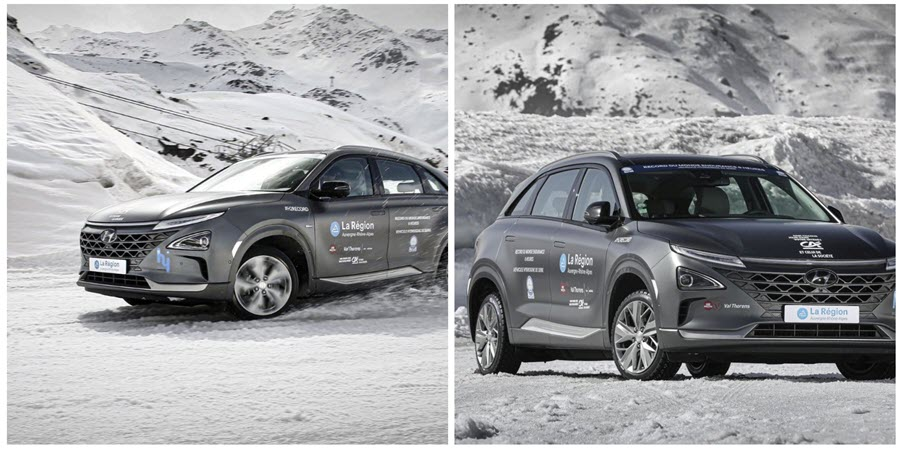 fuelcellsworks, The Hydrogen SUV Hyundai Nexo in Tests at Val Thorens in Extreme Conditions With Adrien Tambay