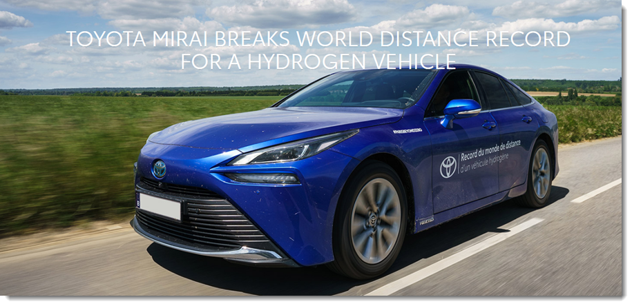 fuelcellsworks, Toyota Mirai Breaks World Distance Record for a Hydrogen Fuel Cell Vehicle