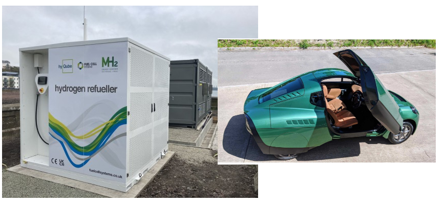 Fuel cells works, Green Hydrogen Electrolyser and Car Refueler Arrive at Milford Haven Waterfront, Wales