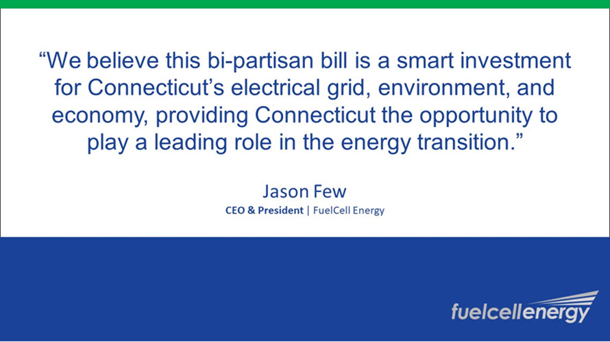 fuel cells works, FuelCell Energy Applauds the Signing of House Bill 6524 in Connecticut