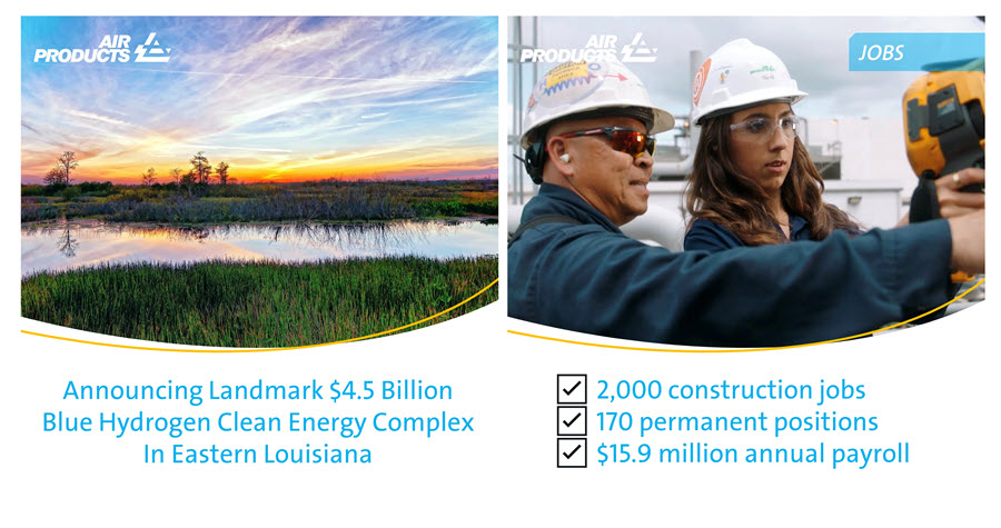 Fuel Cells Works, Louisiana Governor Edwards and Air Products Announce Landmark U.S. $4.5 Billion Blue Hydrogen Clean Energy Complex in Eastern Louisiana