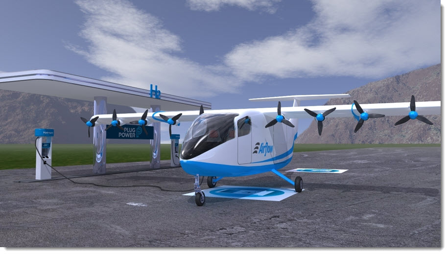Fuel Cells Works, Plug Power Invests in Airflow to Bring Hydrogen Fuel Cell Propulsion System to Part 23 Aircraft